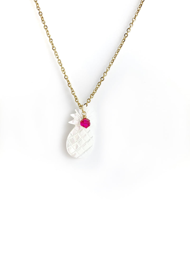 Mother of Pearl Pineapple Necklace - LoobanysJewelry