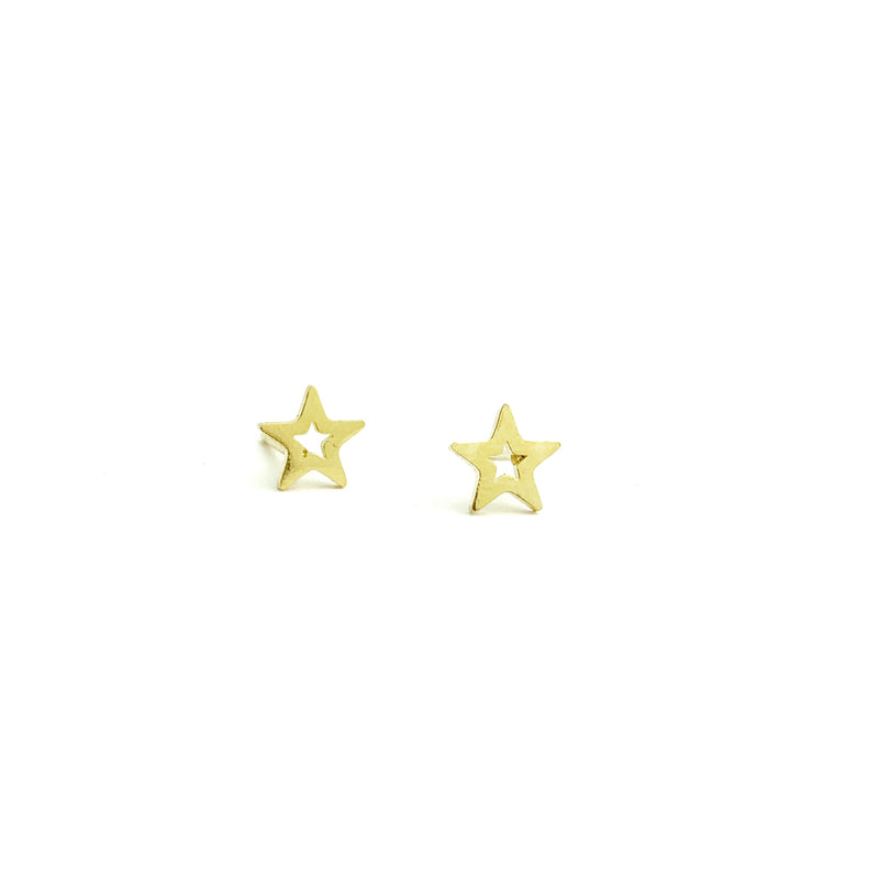 Tiny Open star earring studs