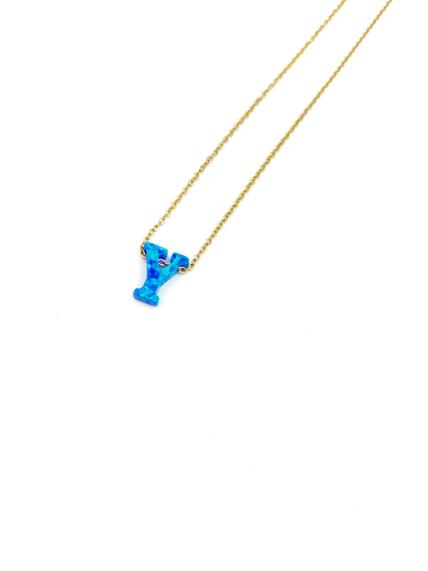 Letter Opal Blue Necklace - LoobanysJewelry