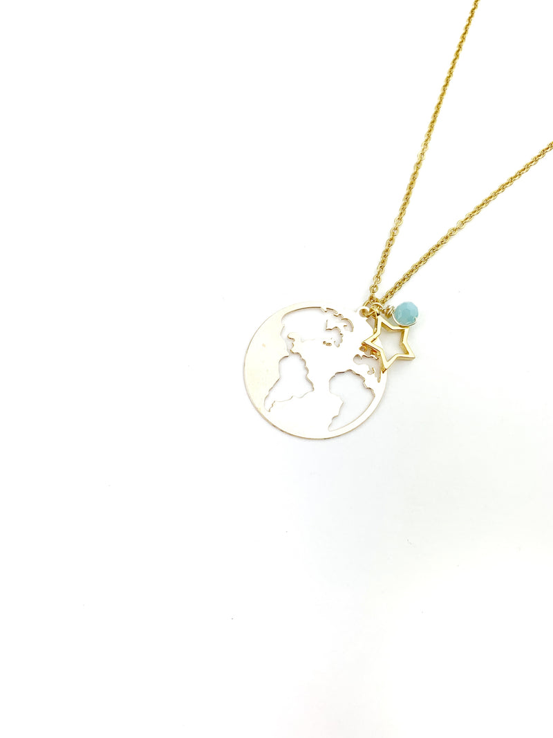 Grecia Gold World Necklace - LoobanysJewelry