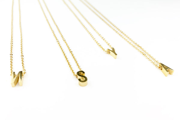 3D Gold Letter Necklace - LoobanysJewelry