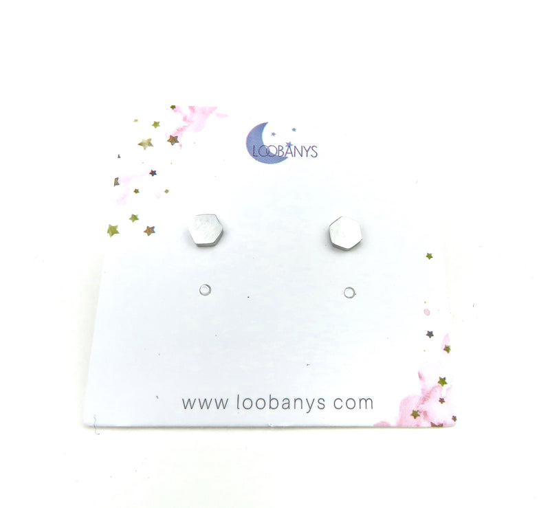 Small hexagon silver Earring Studs - LoobanysJewelry