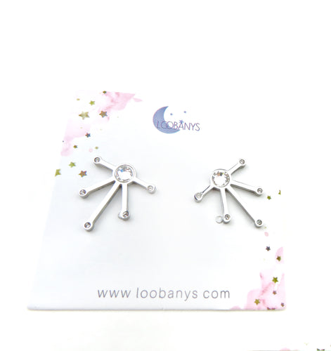 Long Lines silver Earring Studs