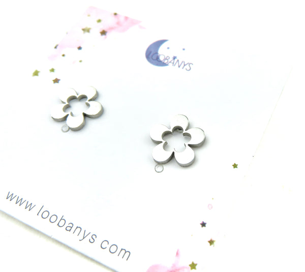 Open Center Flower silver Earring Studs - LoobanysJewelry