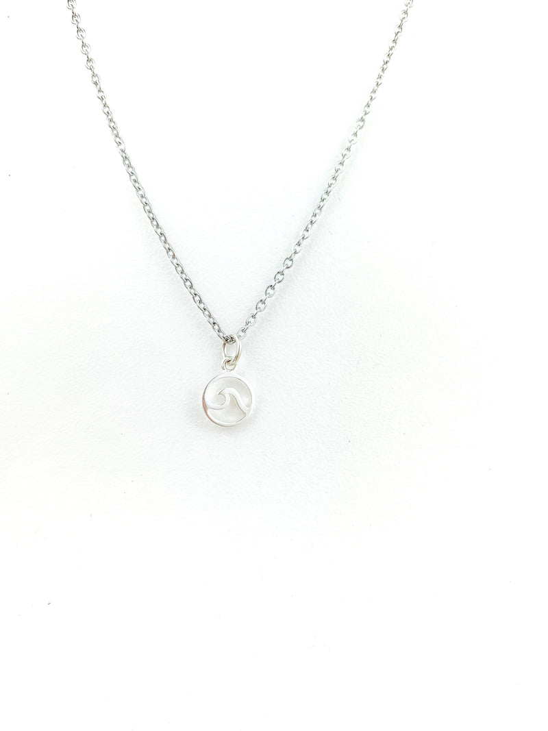 Silver Wave Necklace (sm) - LoobanysJewelry