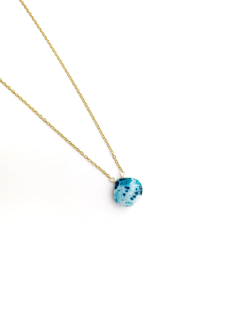 White and Teal Calsedony Drop Necklace - LoobanysJewelry