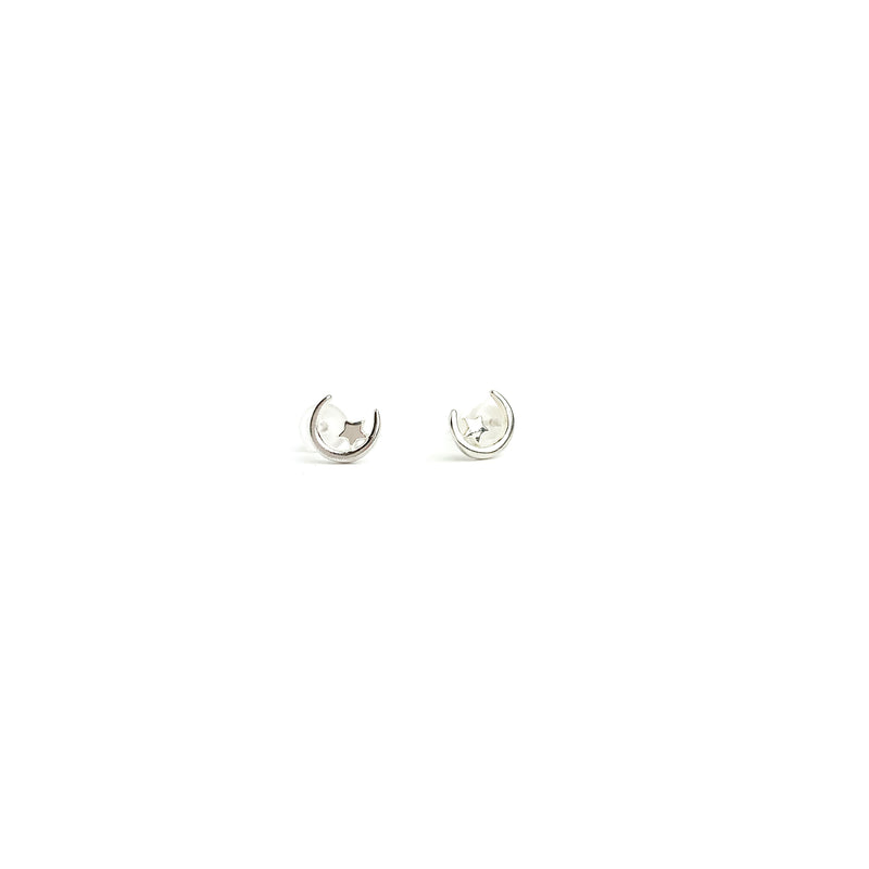 Moon and Star Silver 925 Earring Stud - LoobanysJewelry