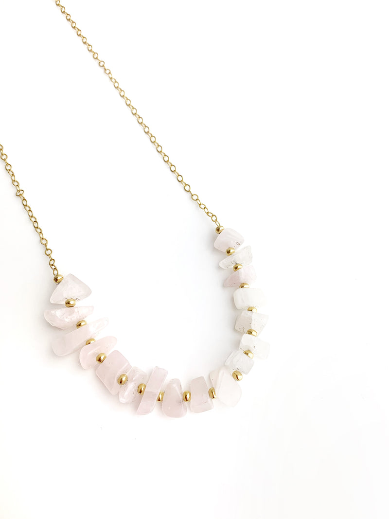 Long Necklace Rose Quartz - LoobanysJewelry