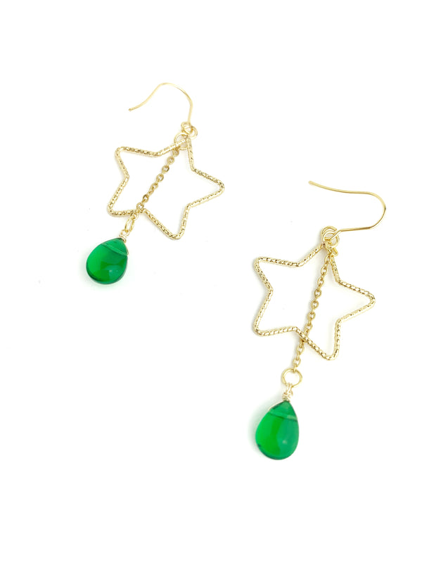 Star with Quartz Statement Earring - LoobanysJewelry