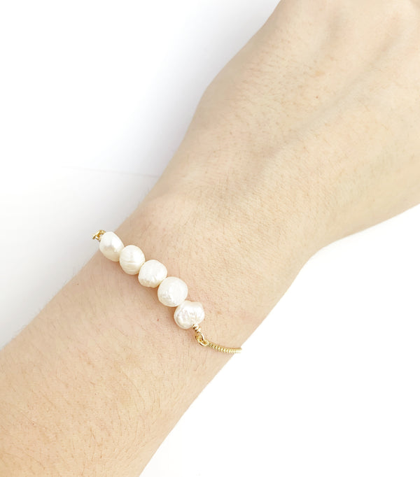 Adjustable Pearl Chain Bracelet - LoobanysJewelry