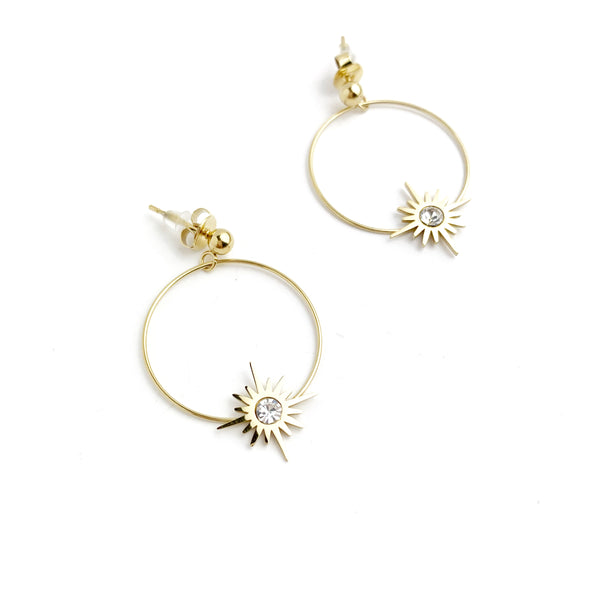 Light Star Circle Statement Earring - LoobanysJewelry