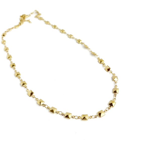 Gold Square Choker Necklace - LoobanysJewelry