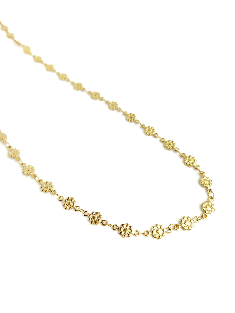 Gold Flat Flower Choker Necklace - LoobanysJewelry