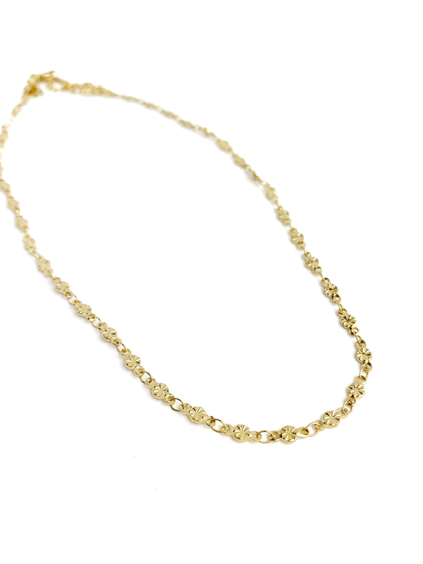 Gold Small Flat Texture Circle Choker Necklace - LoobanysJewelry