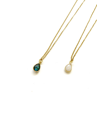Semi Precious Stone Drop Necklace - LoobanysJewelry
