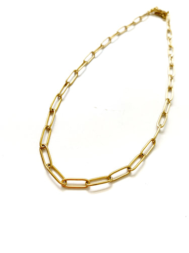 Long Oval Gold Choker - LoobanysJewelry