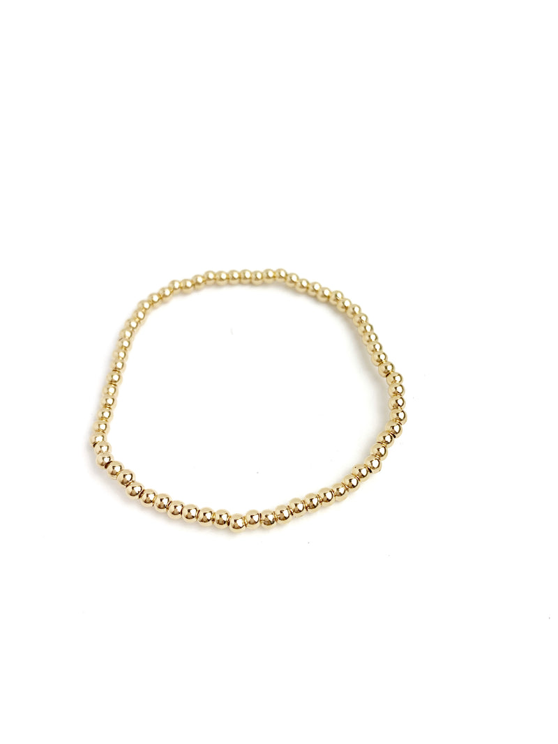Gold Bead Elastic Bracelet 3mm (High Quality) - LoobanysJewelry