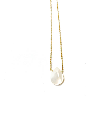 Flat Mother of Pearl Drop Necklace - LoobanysJewelry