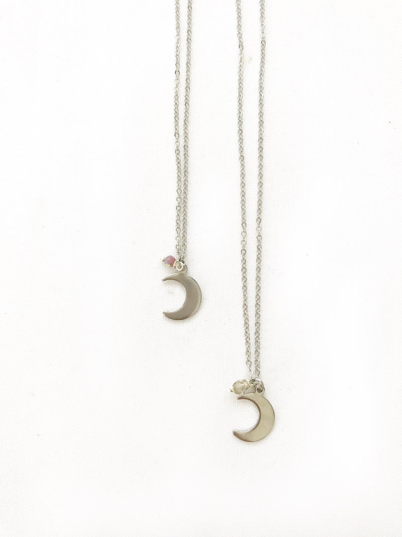 Flat Moon Necklace - LoobanysJewelry