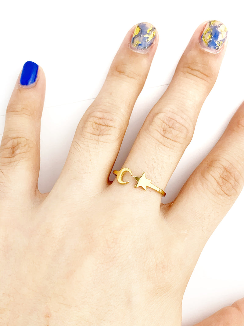 Moon and Star Adjustable Rings - LoobanysJewelry