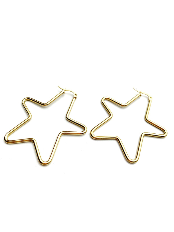 Medium Star Hoop Earrings - LoobanysJewelry