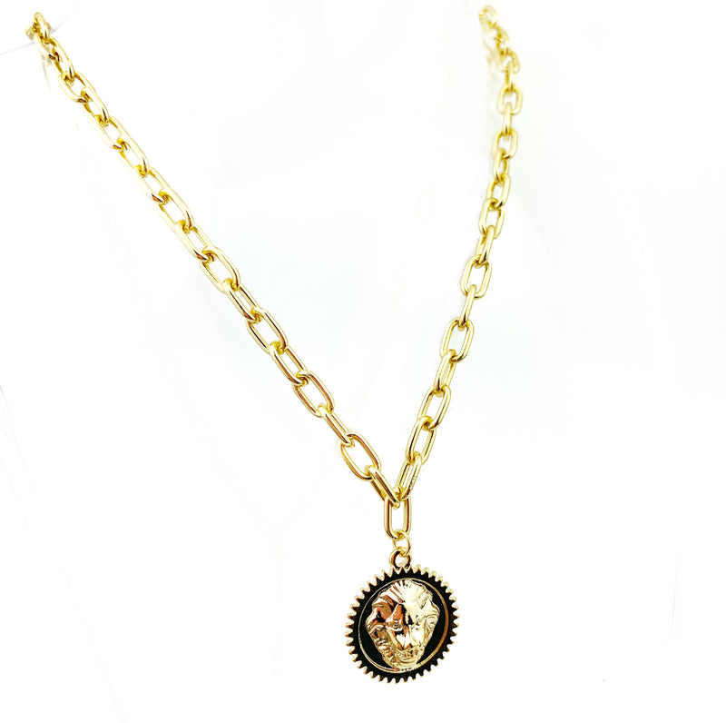 GP chunky Lion Medal Necklace - LoobanysJewelry