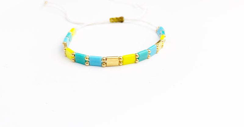 Square Bracelet (Teal, Blue and Yellow) - LoobanysJewelry