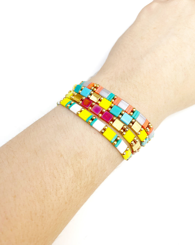 Square Bracelet (Red, Yellow and White) - LoobanysJewelry