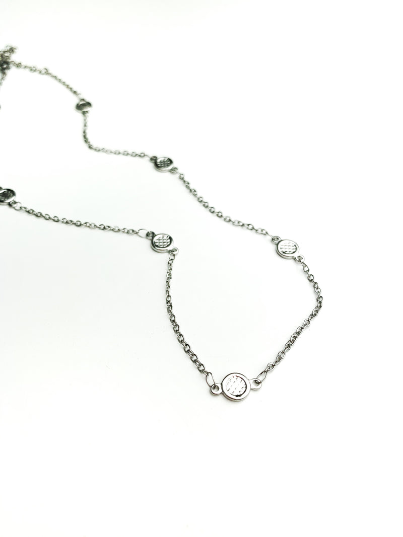 Silver Cirlce & Chain Choker Necklaces - LoobanysJewelry