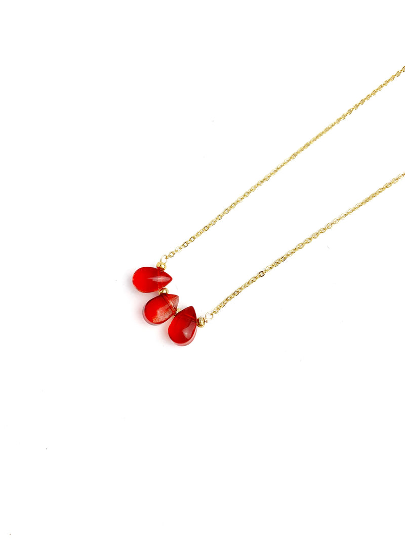 Three crystal red Drop Necklace - LoobanysJewelry
