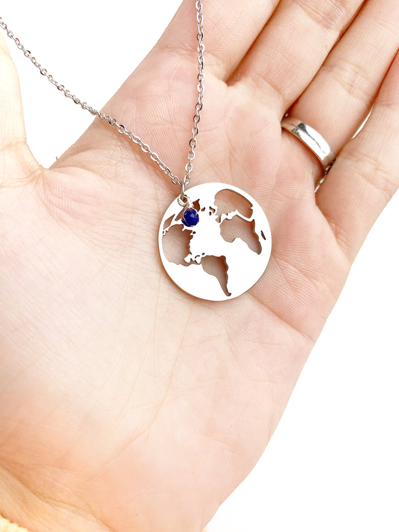 Big World Map Travel Necklace - LoobanysJewelry