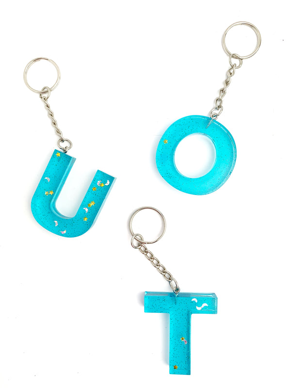 Clear Blue Star & Moon Letter Key Chain - LoobanysJewelry
