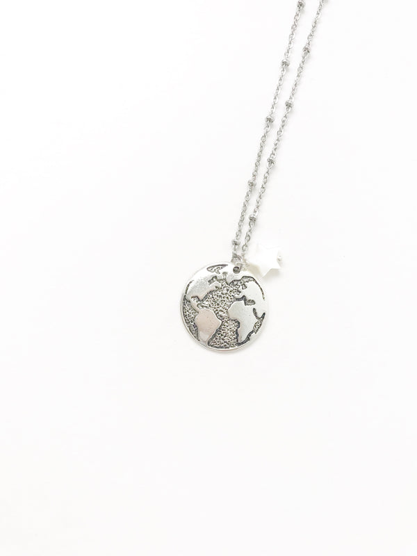 Panama Silver World Necklace - LoobanysJewelry