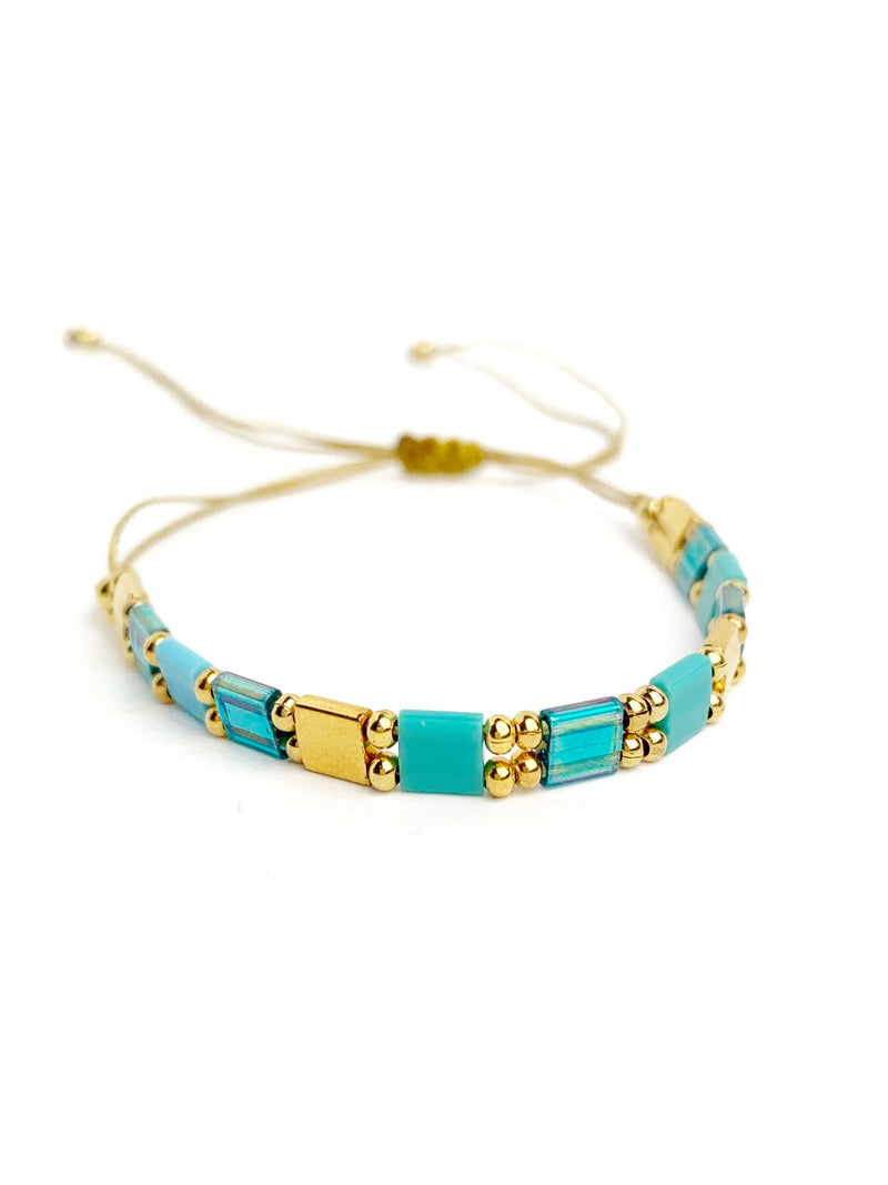Teal & Gold Square Bracelet - LoobanysJewelry