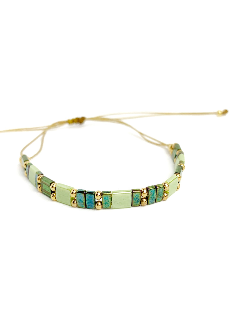 Shades of Green Square Bracelet - LoobanysJewelry