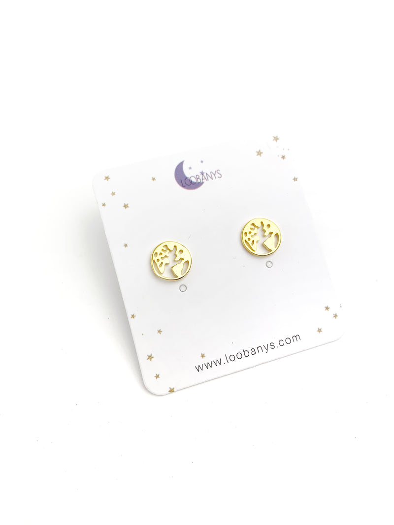 925 World Earring Studs - LoobanysJewelry
