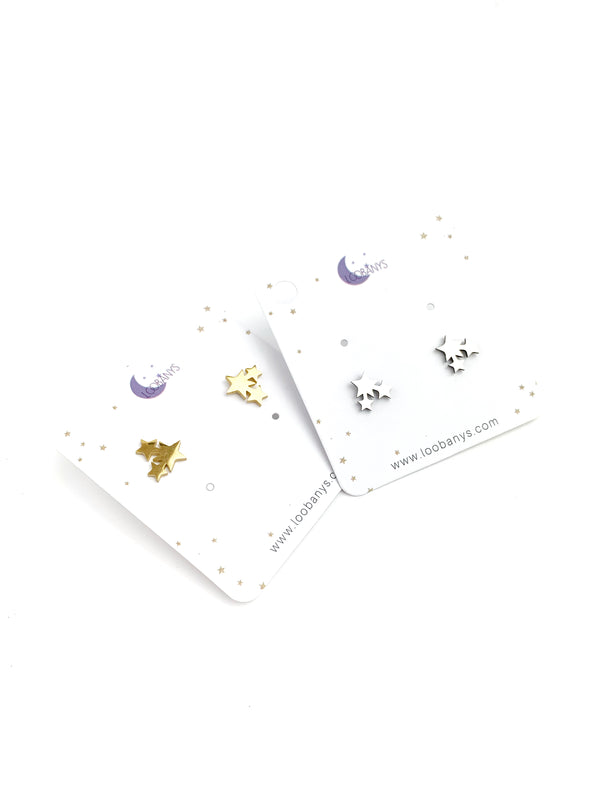 Three dust star Stud Earrings - LoobanysJewelry