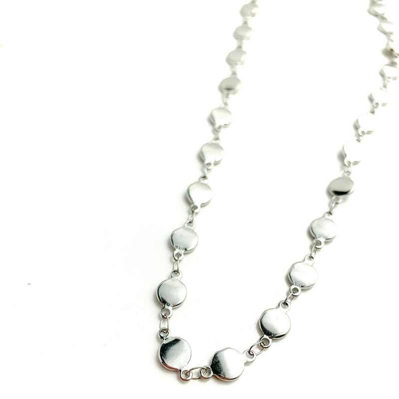 Medium Flat Dot Silver Choker Necklace - LoobanysJewelry