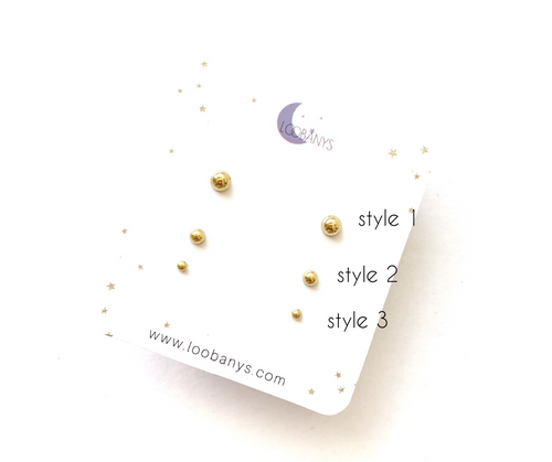 Gold Dot studs earrings - LoobanysJewelry