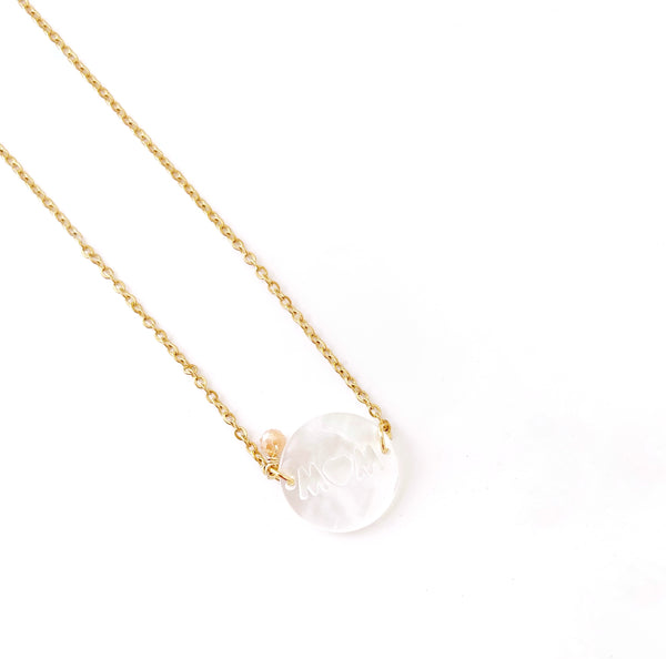 Mom Mother of Pearl Round - LoobanysJewelry