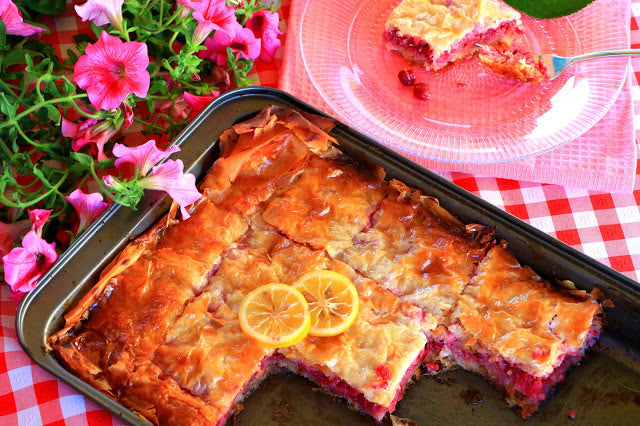 Baklava with cherries and plazma
