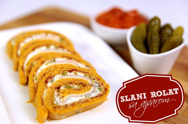 Salt rolls with ajvar