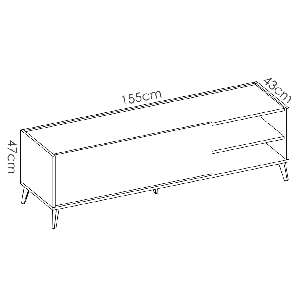 BOOST - Mueble Bajo TV 155 cm Grafito / Roble Natural - muebLISTO