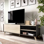 BOOST - Mueble Bajo TV 155 cm Grafito / Roble Natural