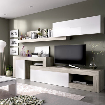 BOSS - Salón TV regulable 260 hasta 300 cm Gris / Blanco Brillo - muebLISTO