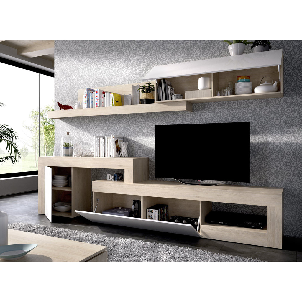BOSS - Salón TV regulable 260 hasta 300 cm Roble Natural / Blanco Brillo - muebLISTO