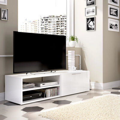 BRUSS - Mueble Bajo TV 131 cm Blanco Brillo - muebLISTO