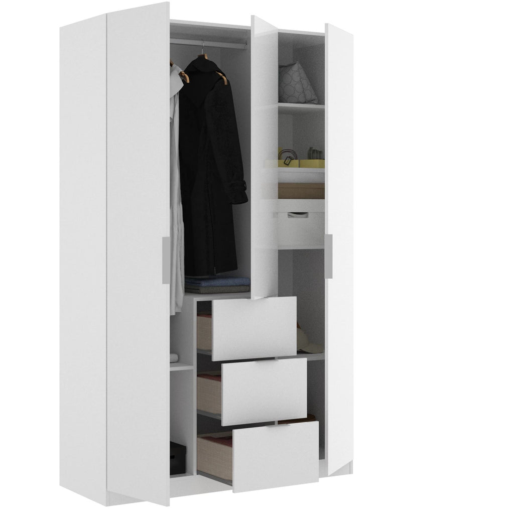 CENTER - Armario 3 puertas + 3 cajones 135 cm Blanco Brillo - muebLISTO