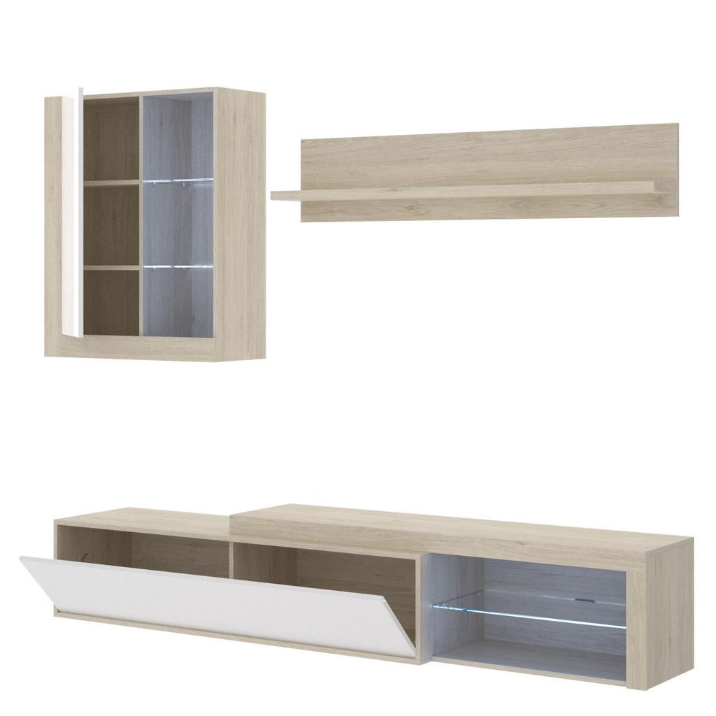 COBI - Salón TV con Leds 215 cm Roble Natural / Blanco Brillo - muebLISTO
