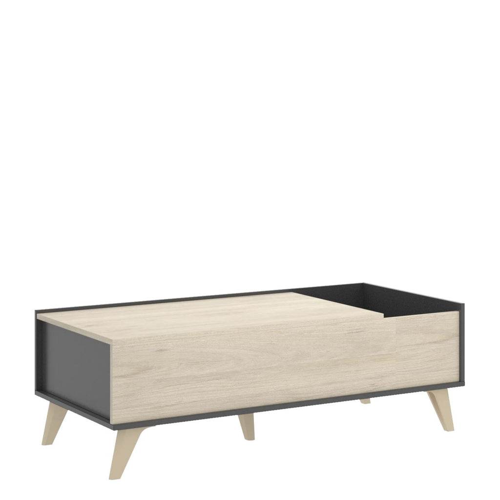 DRAG - Mesa de centro elevable 100 cm Grafito / Roble Natural - muebLISTO